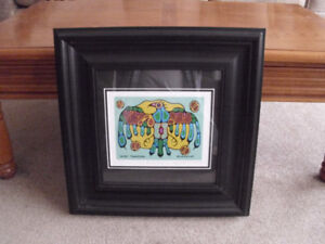 NORVAL MORRISSEAU PRINT FRAME IS 19 1/2 INCHES X 19 1/2 INCHES