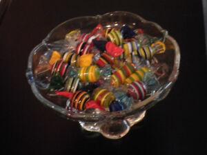 Stunning! Murano Glass Candy in Pedestal Dish