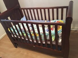 Cot Bed Dropside with Drawer (Dark Finish) + FOAM MATTRESS