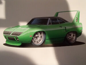 """1970 PLYMOUTH SUPERBIRD GREEN WALL ART PICTURE 11"""" X 8.5"""""""
