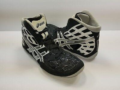 f4700607087 Asics Split Second Black Silver Matflex Wrestling Shoes J203J - Size 8