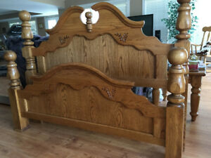 Solid Oak Cannon Ball Double or Queen Bed