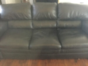 Black leather couch $50.00 pick up only