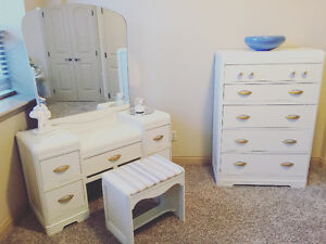 1930's Art Deco vanity, chair and dresser
