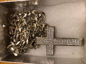 Mens Sterling Silver Chain With Silver Simulated Diamond CZ Cros