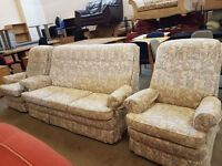 Parker knoll 3 seater highback sofa with matching armchairs