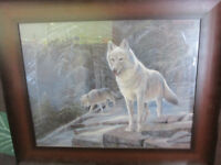 2 Wolves, on Mountaintop Ruane Manning Painting