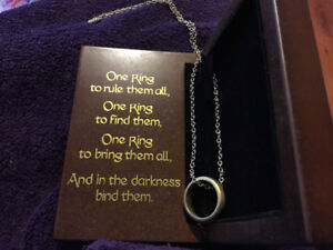 Lord of the rings, one ring on a chain, sterling