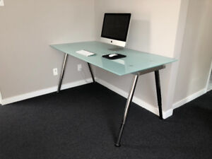 Excellent condition glass table desk with extendable legs $130