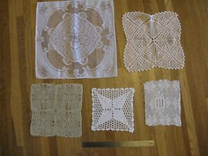 5 Assorted Square Doilies