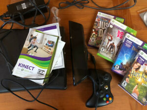 xbox 360 kinect + controller and games