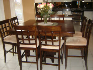 Espresso Pub Style Table with 8 Chairs
