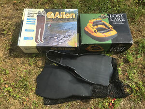 Hip waders, fishing float tube and flippers
