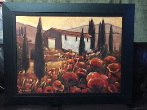 Large framed canvas Tuscany Mediterranean landscape poppies London Ontario image 1