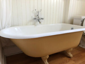 Antic clawfoot tub and accessories