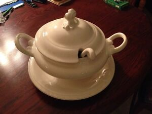 White China Soup Tureen, plate,bowl,lid & ladle