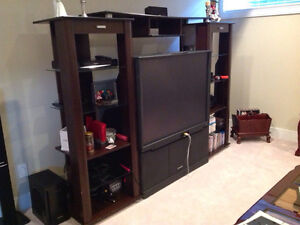Black rear projection TV with hutch