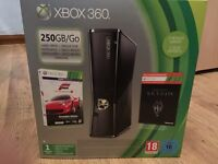 Xbox 360 Slim 250GB with controller, cables, 17 games and a microphone