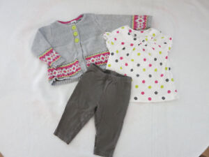 Carter's 3-Piece Shirt Pants and Cardigan Set (Girl 9 months)