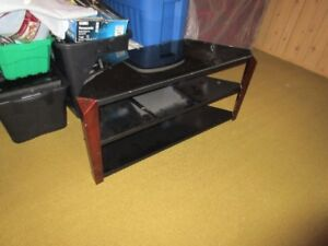 Wood  and Smoked Glass Corner TV Console - 3 Levels