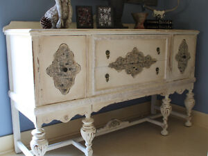 ANTIQUE/VINTAGE BUFFET, SERVER, REFINISHED, SHABBY CHIC