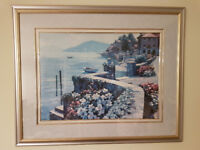 """Lake Como Italy Painting Framed 41""""WX34""""H"""