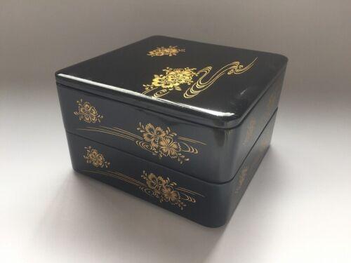 V0842 Japanese Wooden Lunch Box Jyubako Vintage Lidded 2 Stage Black Flower