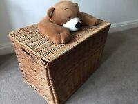 Wicker children's trunk with teddy bear