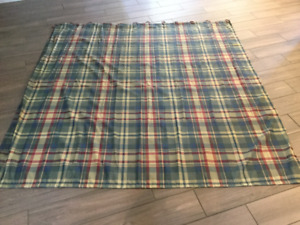 Plaid Shower Curtain with Matching Hooks