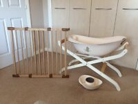 2 stair gates, Moses basket stand and baby bath bundle