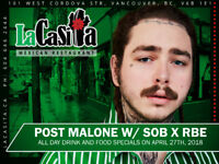 Post Malone pre-drinks w/ meal and post-drinks w/ late dinner