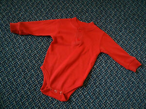 Baby Size 6-9 Months Long Sleeve Red Onesie