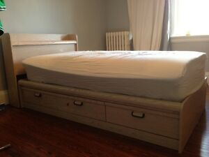 Twin bed with storage and Mattress