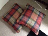Two tartan cushions