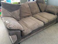 Three seater sofa and footstool
