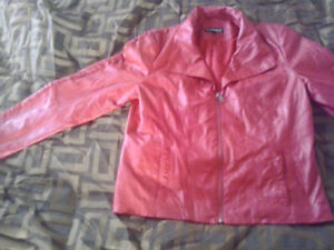 Leather Jacket - Red Large
