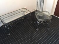Metal and glass coffee and side table £15.00 ono