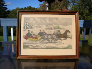Antique Lithograph Print By Currie and Ives The Sleigh Race