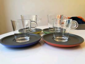 4 New Nespresso espresso cups and saucers
