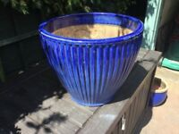 Large Blue Glazed Pot.