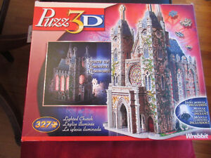 Wrebbit 3D Puzzle - Lighted Church.........lights up, so pretty