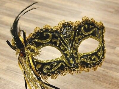 Venetian Carnival Black & Gold Domino Mask with Stick and Feathers