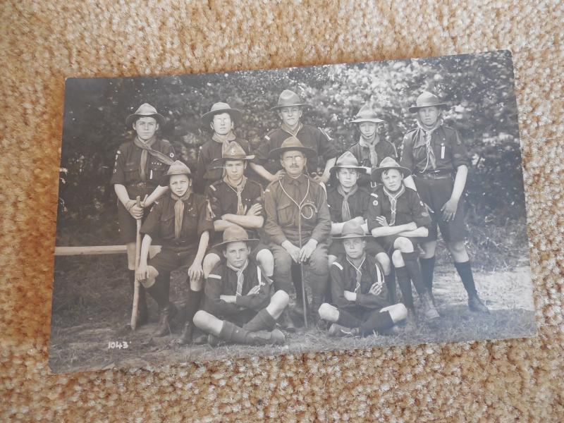 Vintage 1918 Boy SCout Troop Wimbledon Congregational Church Tadworth RPPC RARE