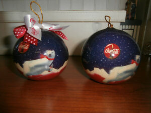 2 COCA COLA CHRISTMAS TREE ORNAMENTS