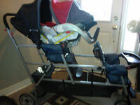 Joovy Big Caboose Stand-On Tandem Triple Stroller with car seat