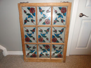 Vintage window pane with stained glass