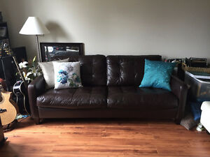Contemporary Brown Genuine Leather Sofa Very Good Condition