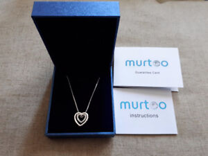 """""""NEW"""" Murtoo Double Heart White Gold Necklace"""