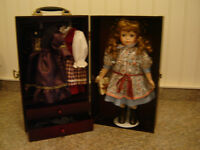 Porcelain doll with case and accessories