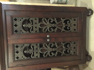 Solid wood and Cast Iron Liquor / Wine Cabinet!!
